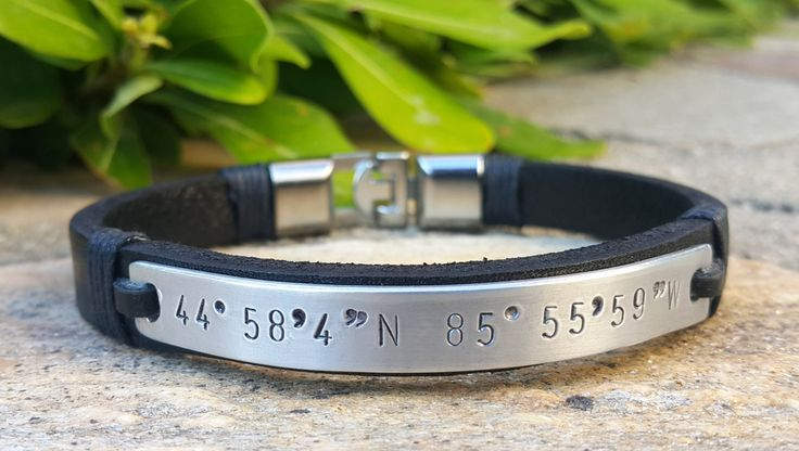 Personalized Leather Bracelet, Custom GPS Coorditanates Jewelry, Engraved, Handstamped Bracelet, Long Distance, Relationship, Boyfriend Gift