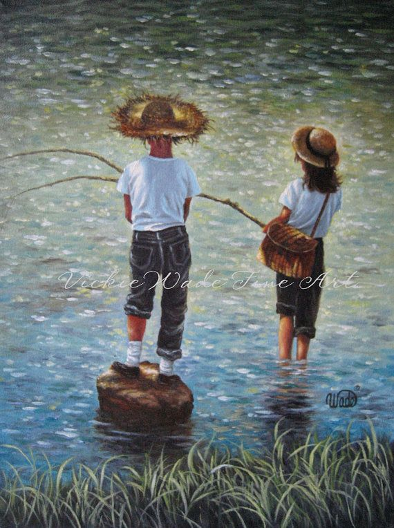 Boy and Girl Fishing Art Print fishing wall by VickieWadeFineArt