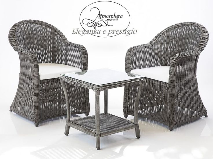 Set 2 Poltrone in rattan sintetico con tavolo e cuscini arredo giardino  Atmosphera Art Design ...