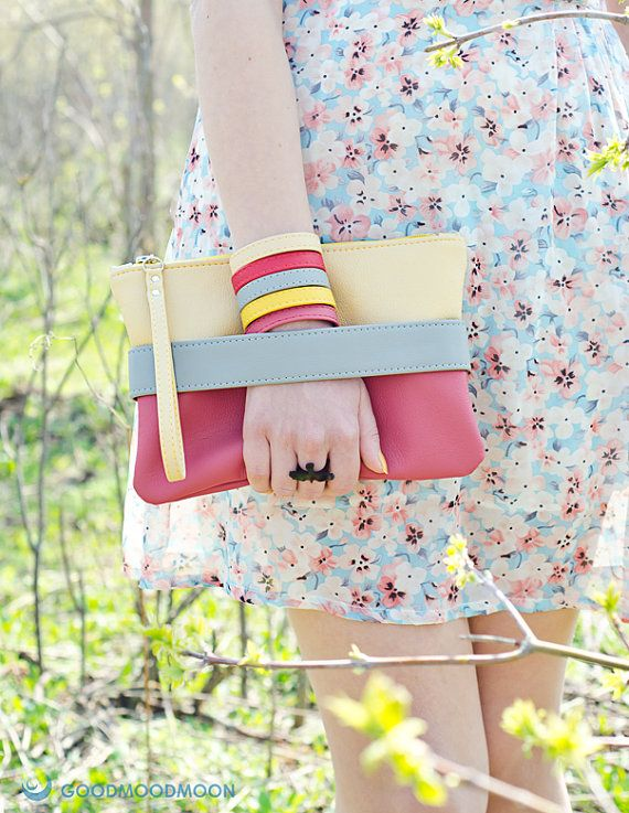 Spring clutch bag CarryMe beige and purple pink by GoodMoodMoon, $39.00