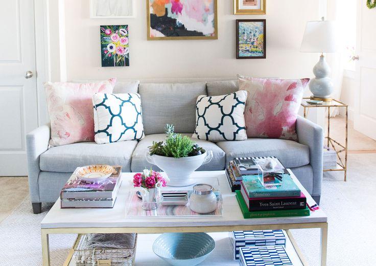 mintwood home, living room, washington dc, apartment, bachelorette pad, grey, pink, navy, art wall