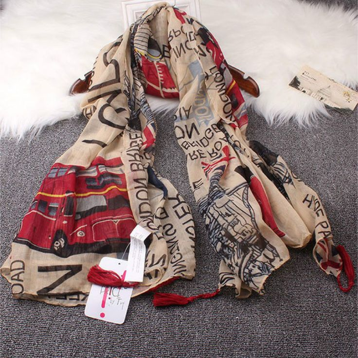 Vintage Style 2017 new  fashion women scarf Euro Fashion British style London Tower Bridge / letter & bus flag printed scarves