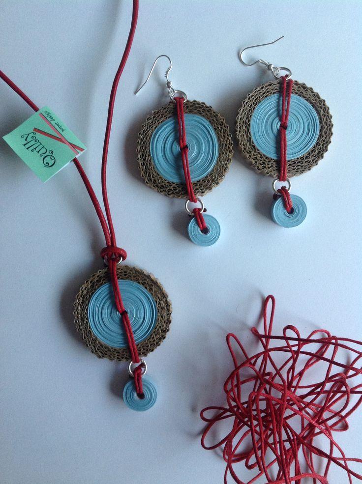 "Collana e orecchini ""etnica_03"", necklace and earrings ""etnica_03"", paper jewel…"
