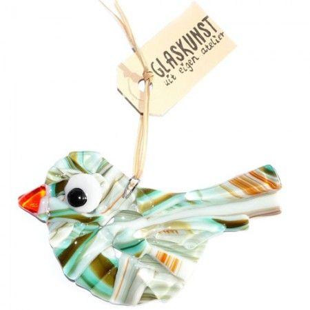 Glazen vogel gemaakt van turquoise, bruin, blauw en oranje gekleurd glas.
