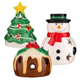 New for this christmas is our amazing ceramic tea light holder! Available in 3 fabulous designs which are a cheeky snowman, a christmas tree and a christmas pudding. Add a little fun to your christmas lighting.