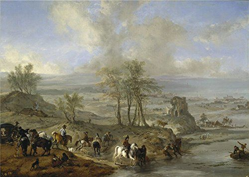 The High Quality Polyster Canvas Of Oil Painting Wouwerman Philips Partida De Caza Y Pescadores 1660 62  size 20 X 28 Inch  51 X 72 Cm this Replica Art DecorativeCanvas Prints Is Fit For Living Room Decoration And Home Artwork And Gifts