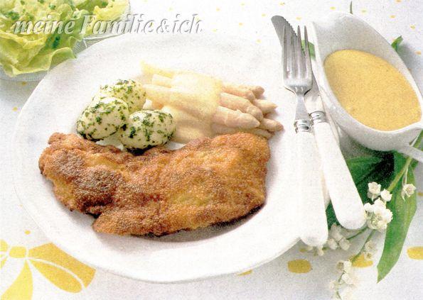 """Parmesan-Schnitzel """"Spargel-Boom"""" Ein Originalrezept von """"meine Familie & ich"""" aus den 80ern. Rezept: http://www.meine-familie-und-ich.de/parmesan-schnitzel-spargel-boom"""