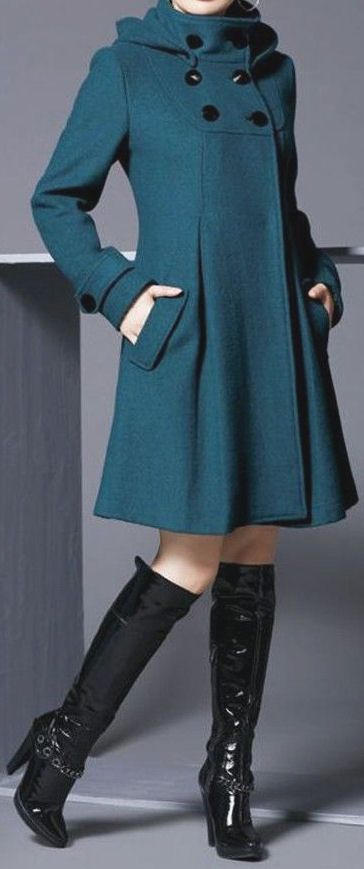 Teal Hooded Trench Coat