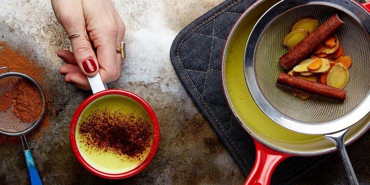 Spiced vegan milk tea with fresh turmeric, cinnamon, ginger, black peppercorns and honey.
