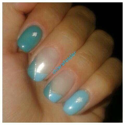 Unghie gel estate azzurro e petrolio Gel nails for summer