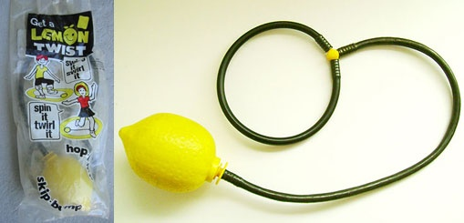 70s: Actually from the mid-70s.  Lemon Twist by Chemtoy was released in 1975. Put the loop around your ankle, then skip in place while the plastic lemon at the end of the rope twirls in a circle, when kids actually went outside and played.
