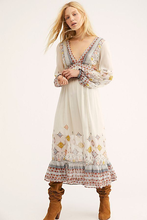 aa2cba3089d0 Wishing Well Midi Dress - Long Sleeve V-Neck White Midi Dress with Floral  Sleeves
