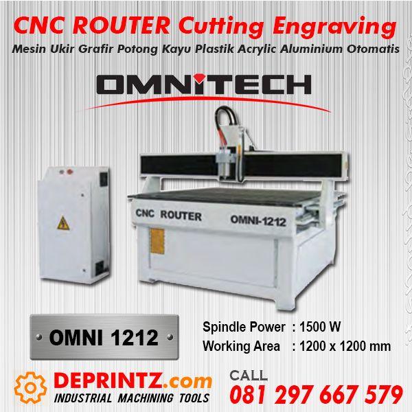 Mesin CNC Router OMNI 1212 adalah Mesin Potong dan Grafir berbasis Komputer Otomatis yang bisa menjalankan Proses Pengerjaan Cutting dan Engraving secara otomatis. Memiliki area Kerja maksimal 120 x 120 cm (ukuran setengah Triplek ) dan Spindle Power Motor 1,5 KW membuat Mesin CNC ini mampu melakukan Pekerjaan berat dan cepat.  Rp. 99.900.000,-