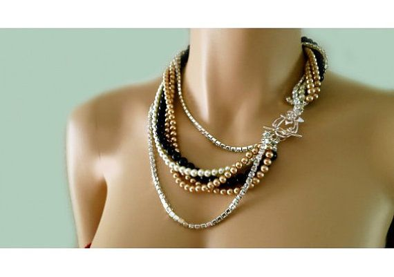 Black $ bronze pearl and rhinestone necklace for weddings layered statement necklace