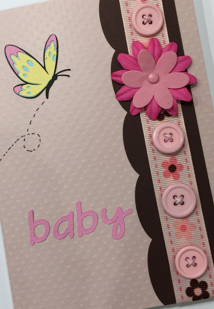 """This adorable handmade card is the perfect card to welcome a new bundle of joy to the family. The card measures 6"""" x 4.5"""" and comes with a matching envelope.The inside is left blank for you t o write"""
