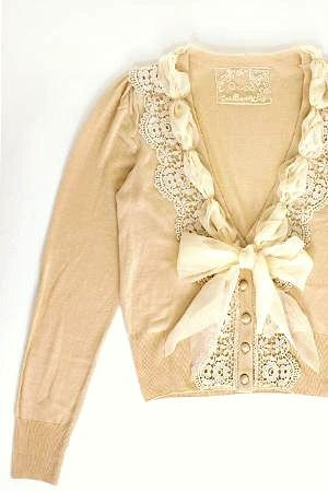 diy sweater refashion -embellish with  crochet edging and ribbon