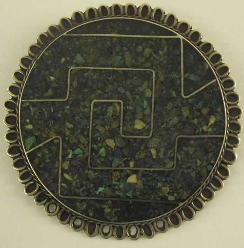 Buy Very Rare Mexican 925 Silver Aztec Brooch with Turquoise Lapis…
