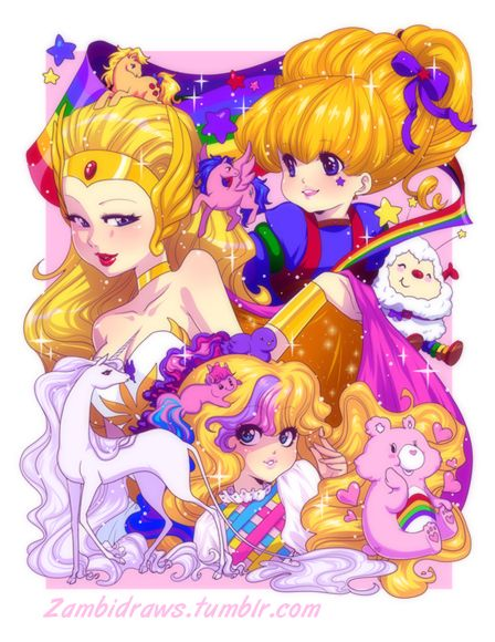 She-ra, G1 My Little Pony, Rainbow Brite, The Last Unicorn, Lady lovely locks, Care Bears star in this print