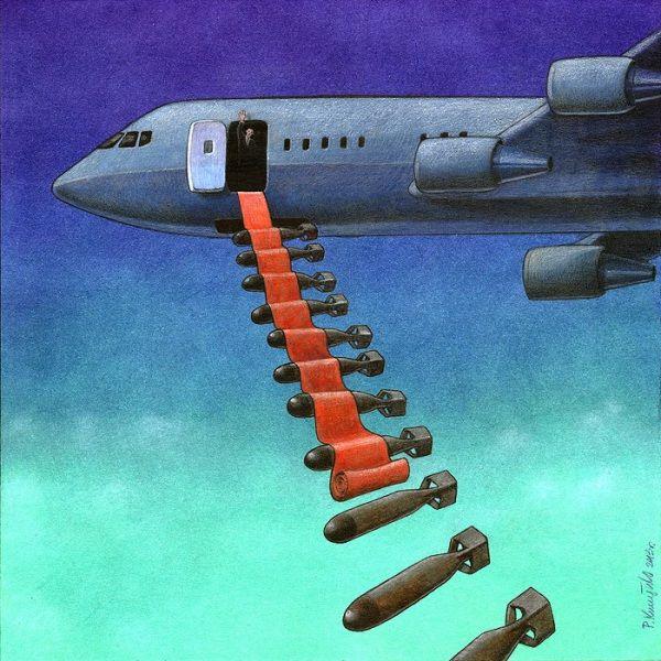 Non importa davvero chi siano i presidenti. Le visite dei grandi della terra dietro le visite cerimoniali nascondono sempre la minaccia della guerra e dell'oppressione. Le ciniche illustrazioni di Pawel Kuczynski - Focus.it