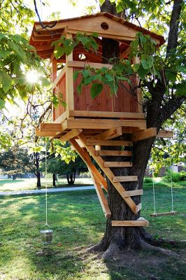 "Gordon Family Treehouse - Created for the movie ""Gordon Family Tree"" by Natural State Treehouses  #treehouse #kids #backyard"