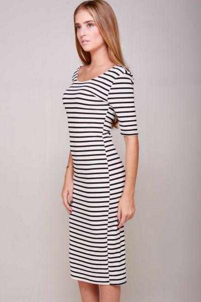 3/4 SLEEVED STRIPED FITTED MIDI DRESS