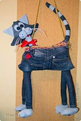 Jeans toy cat