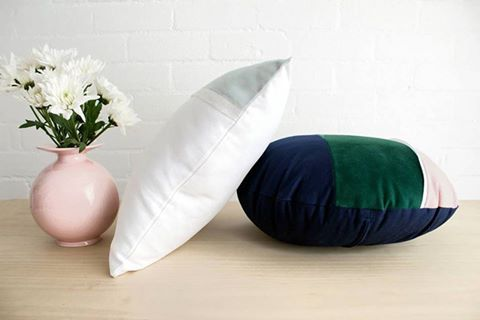 It's a pillow's life... Mist & Fireside lying around, happy to simply be... Part of the Leura range, all made by me in Sydney.