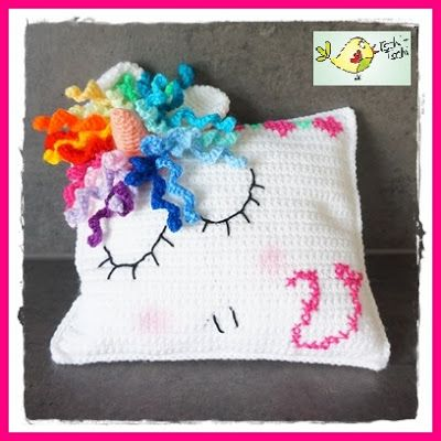 Frau Tschi-Tschi: Einhorn - Kissen - kostenlose Häkelanleitung - Unicorn pillow - crochet pattern free