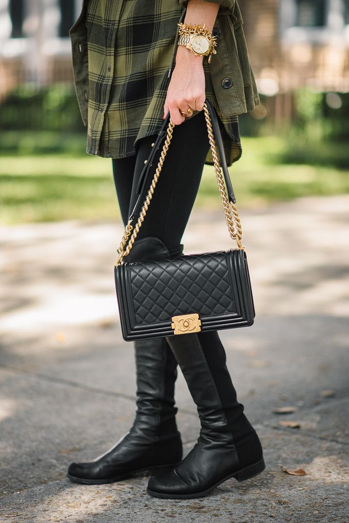 PLAID TUNIC + OVER THE KNEE BOOTS | AlysonHaley.com ...