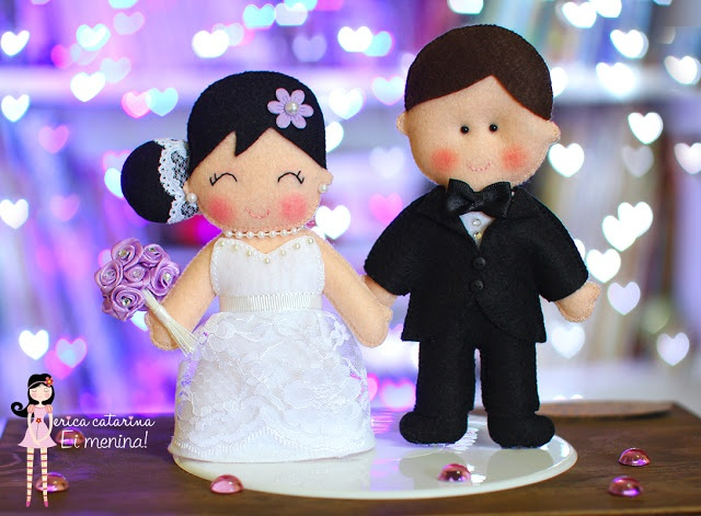 felt bride and groom #couple #wedding