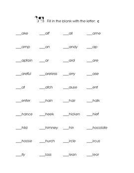 Letter C Kindergarten Fill in the Blank Sight Words