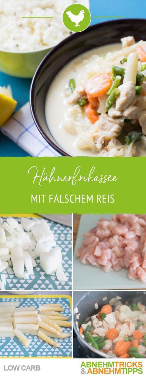 Leckeres Low Carb Hühnerfrikassee mit falschem Reis