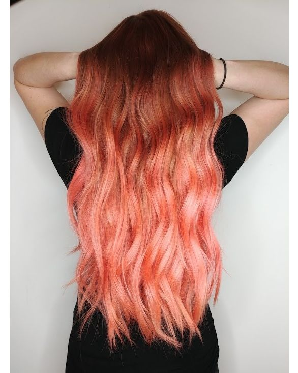 Gorgeous Peach Balayage By Lorietherrien Using Neon Peach Sext