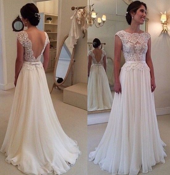Lace Chiffon Backless A-line Wedding Dresses Capped Sleeves Sweep Train Summer Bridal Gowns_New A-Line Wedding Dress_A-Line Wedding Dresses_Wedding Dresses_Buy High Quality Dresses from Dress Factory - Babyonlinedress.com