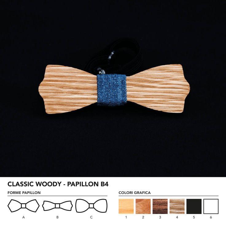 CLASIC WOODY - PAPILLON B4  Papillon in legno di rovere. Nodo centrale personalizzabile in base alle vostre esigenze e alle nostre disponibilità.  N.B. Usando legno massello naturale ogni prodotto presenta diverse venature e sfumature di colore, rendendo così ogni papillon unico è diverso dagli altri.