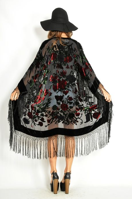 Vtg 80s Black SHEER FRINGE GYPSY KIMONO Boho Hippie FESTIVAL Burn Out Jacket S | eBay