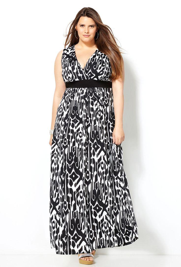 Black and White Ikat Maxi Dress-Plus Sixe Maxi Dresses-Avenue