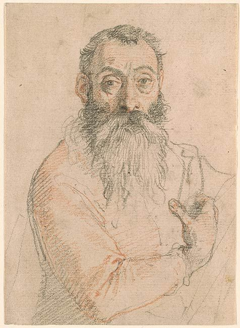 Federico Zuccaro (Federico Zuccari), c.1540/1541-1609, Italian, Three-Quarter Length Self-Portait,  1595?  Red and black chalk on paper, 14.3 x 10.3 cm.  Morgan Library & Museum, New York.  Mannerism.