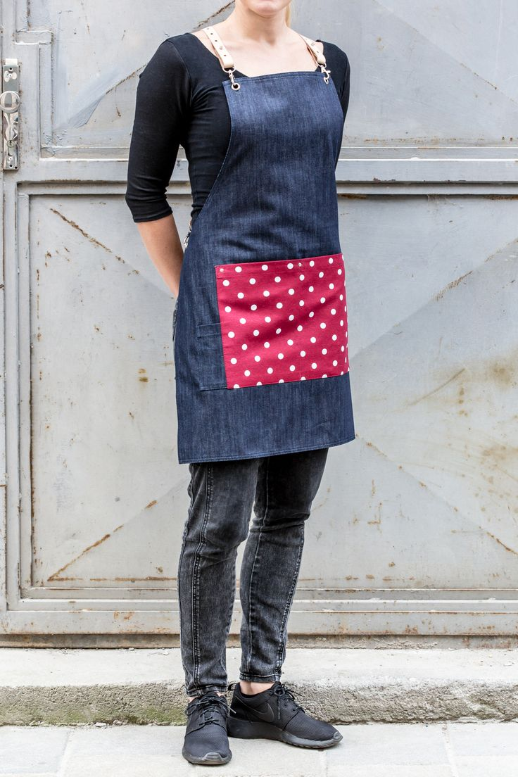 Bartender Denim Apron w/Polka Dots Detail. Leather Custom Made Straps.