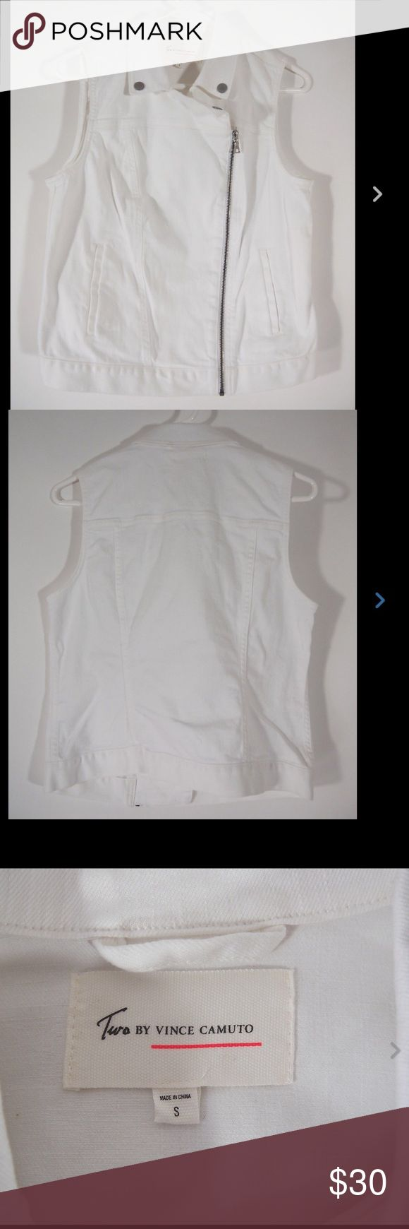 Two Vince Camuto White Denim Jean Moto Vest S Asymmetrical zipper, 99% cotton, 1% spandex.  Like new condition, minimal if any wear. Two by Vince Camuto Jackets & Coats Vests