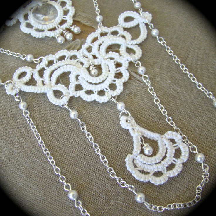 Tatted Lace Back Drop Necklace - Tatted Goddess - Wedding White. $70.00, via Etsy.