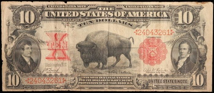 Just Listed! 1901 $10 U.S. Legal Tender Note, Large Size. Fr. 114. VG to Fine https://www.paper-money-collector.com/product/1901-10-u-s-legal-tender-note-large-size-fr-114-vg-to-fine/ #PaperMoney #UnitedStates