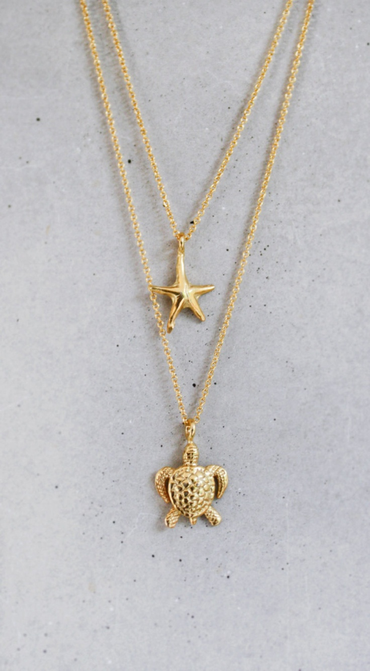 Gold Starfish Necklace by shopkei on Etsy