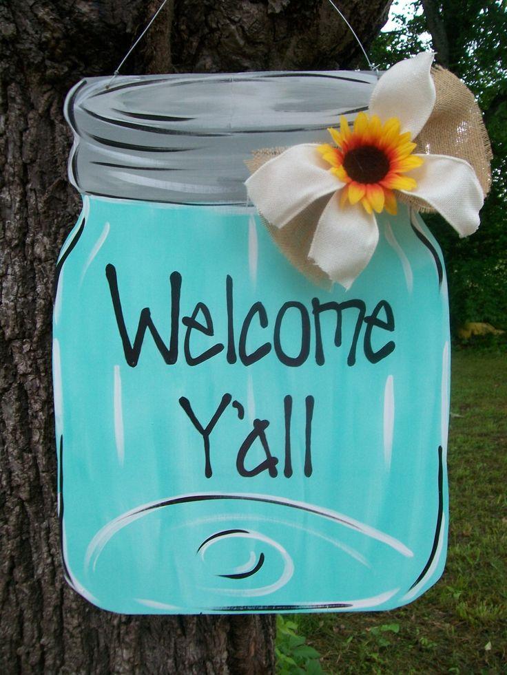 Mason Jar Door Hanger Summer Door Hanger by BluePickleDesigns, $45.00
