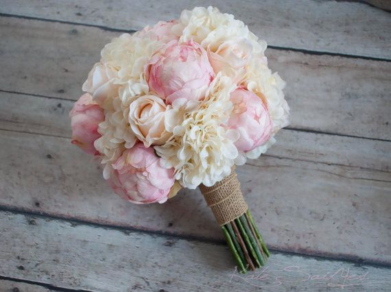 Shabby Chic Wedding Bouquet - Peony Rose and Hydrangea Ivory and Blush Wedding Bouquet with Burlap Wrap