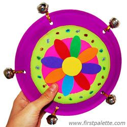 Easy Paper Plate Tambourine with jingle bells - DIY musical instrument