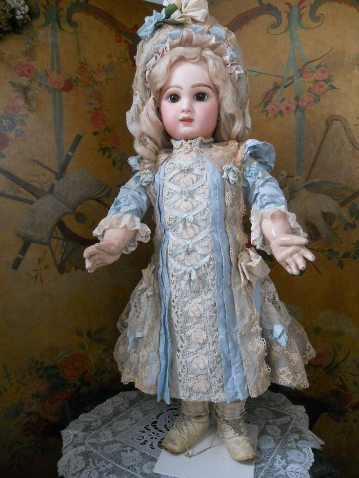 ~~~ Wonderful French BeBe Silk and Lace Dress with Bonnet ~~~ from whendreamscometrue on Ruby Lane