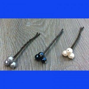 Bruids sieraden, Haarspeld lang 3 parels