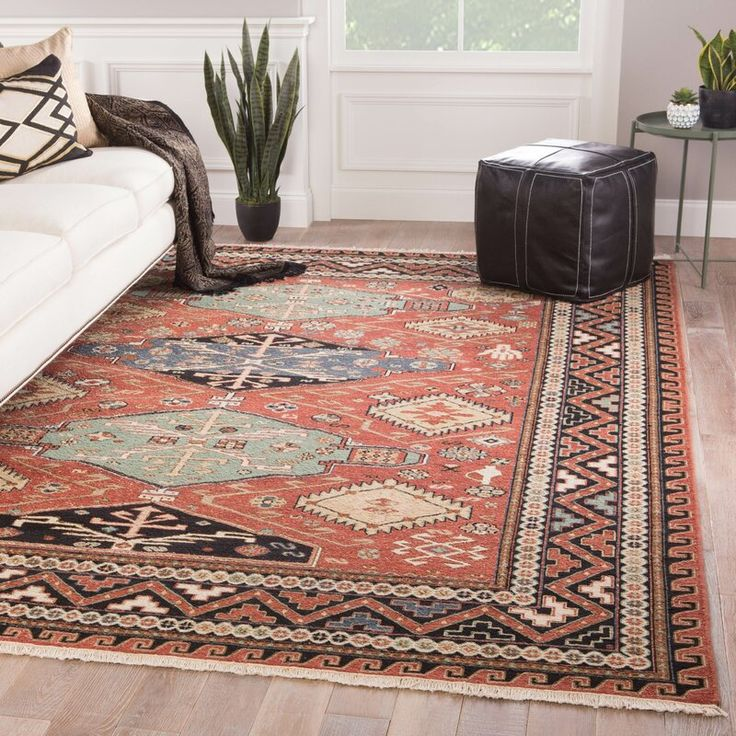 Millwood Pines Wickline Oriental Hand Knotted Wool Red Blue Green Area Rug Red Area Rug Area Rugs Rugs