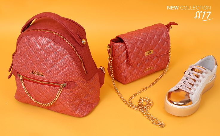 Bags in red color with quilted texture and decorative details Red backpack: 12362 Red cross bady bag: 12359 White sneakers: 72973